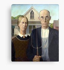 Iconic American Gothic by Grant Wood Metal Print