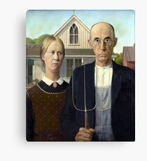 Iconic American Gothic by Grant Wood Canvas Print