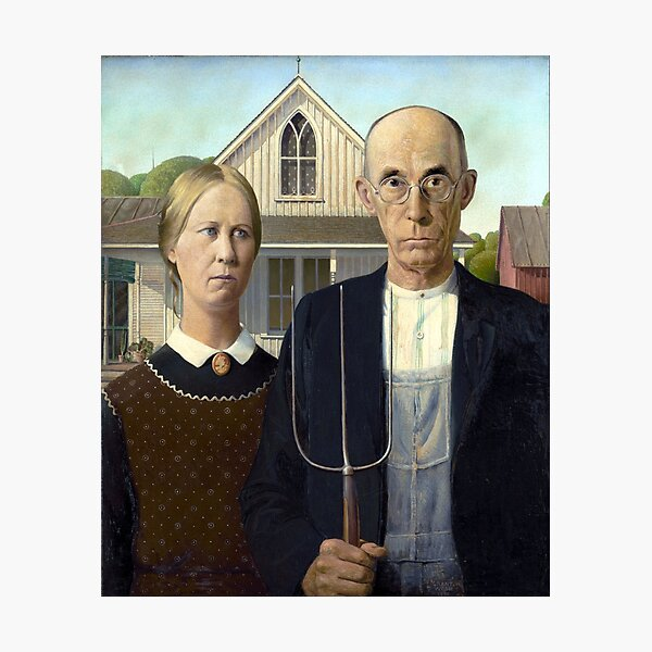 Iconic American Gothic by Grant Wood Photographic Print