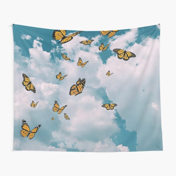 Monarch butterflies flying in the sky (vintage)  - Photography and illustration Tapestry