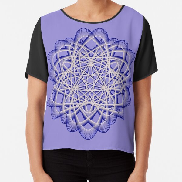 Abstract Blue Violet Atomic Swaps Chiffon Top