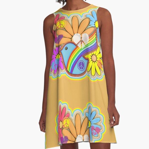 Flower Power Hippy Retro Dove Design A-Line Dress