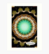 Black Gold Green Mandala Spiral Notebook Art Print