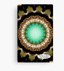 Black Gold Green Mandala Spiral Notebook Canvas Print