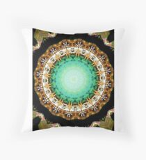 Black Gold Green Mandala Spiral Notebook Throw Pillow