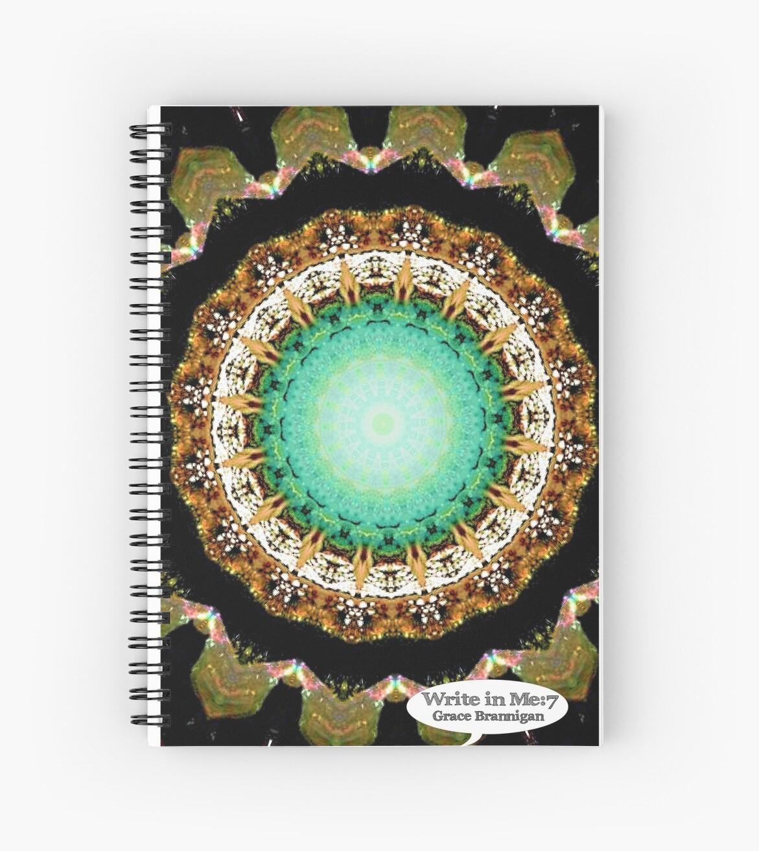 Black Gold Green Mandala Spiral Notebook by ExceptionalSilk