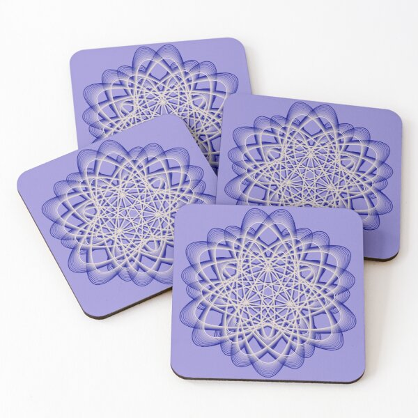 Abstract Blue Violet Atomic Swaps Coasters (Set of 4)