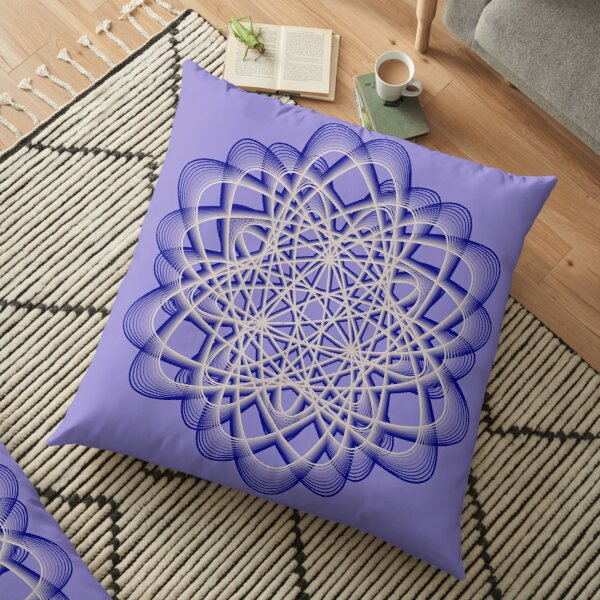 Abstract Blue Violet Atomic Swaps Floor Pillow