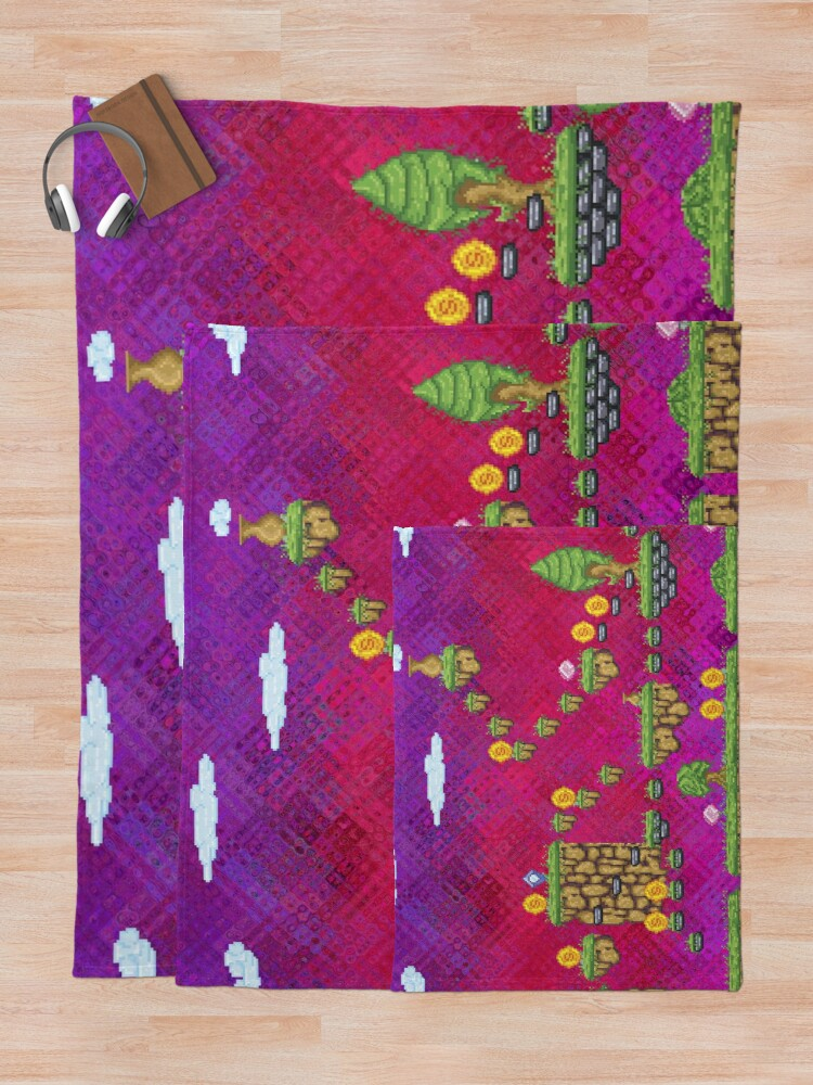 Alternate view of Psychedelic Video Game Design Throw Blanket