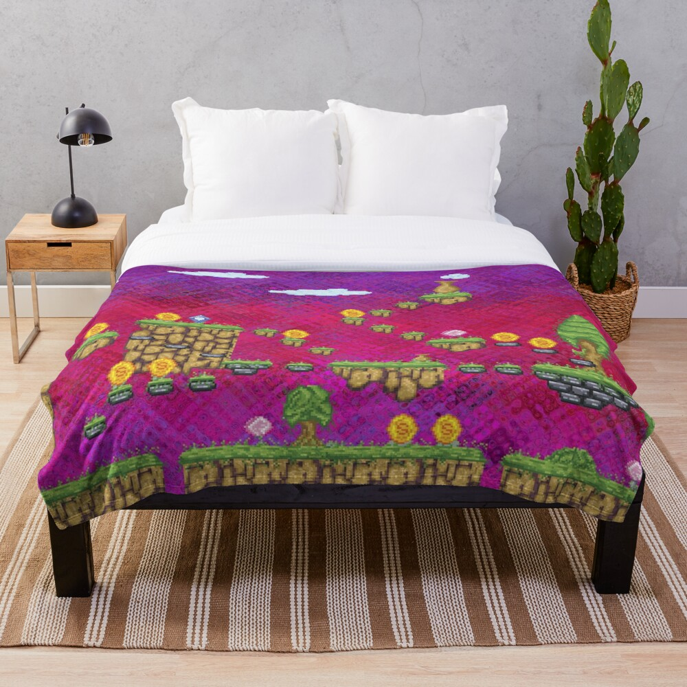 Psychedelic Video Game Design Throw Blanket