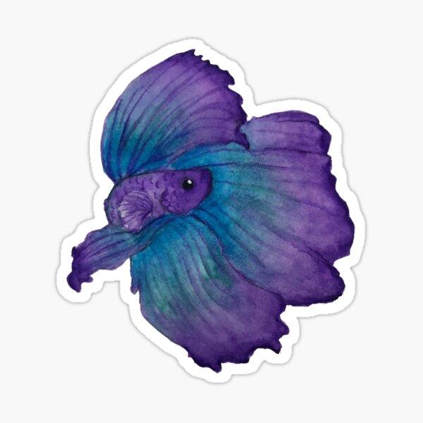 Purple and turquoise betta Sticker