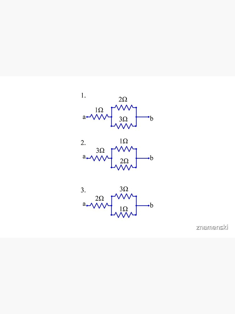 Evaluate without direct calculation which circuit has the highest and which circuit has the lowest equivalent resistance between a and b by znamenski