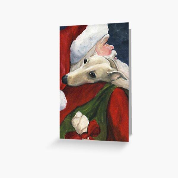 Greyhound and Santa  Greeting Card