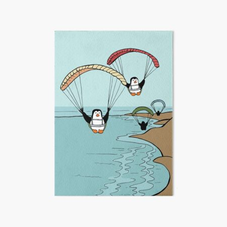 Penguin Family Goes Paragliding Over a Beach Art Board Print