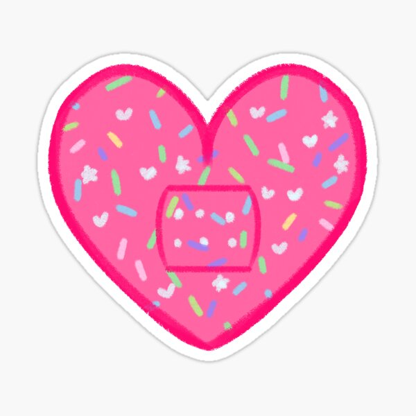 Menhera Kawaii Pink Sprinkles Heart-Shaped Bandaid (Large) Sticker
