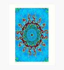 Blue, Orange and Red Mandala Journal Art Print