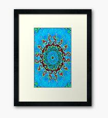 Blue, Orange and Red Mandala Journal Framed Print
