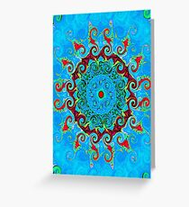 Blue, Orange and Red Mandala Journal Greeting Card