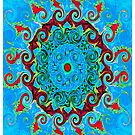 Blue, Orange and Red Mandala Journal by ExceptionalSilk