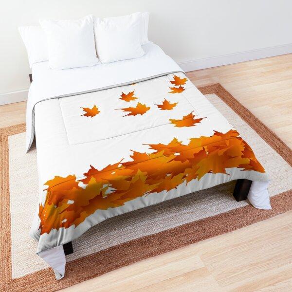 Autumn Leaves, Maple Leaf, Leaf Silhouette, Nature, Fall, Orange Comforter