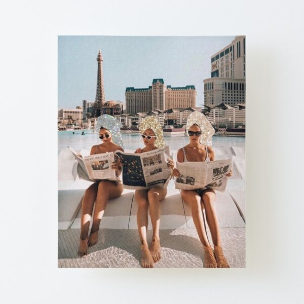 Fashion Vintage Aesthetic Girls Reading Newspapers Canvas Mounted Print