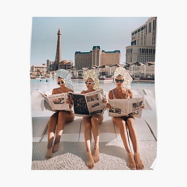 Fashion Vintage Aesthetic Girls Reading Newspapers Poster