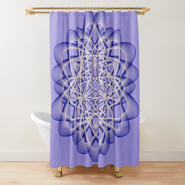 Abstract Blue Violet Atomic Swaps Shower Curtain