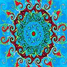 Blue Turquoise Orange and Red Mandala by ExceptionalSilk