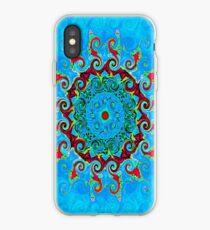 Blue Turquoise Orange and Red Mandala iPhone Case