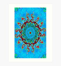 Blue Turquoise Orange and Red Mandala Art Print