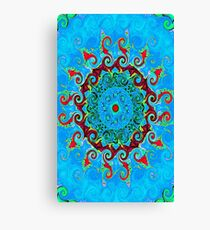 Blue Turquoise Orange and Red Mandala Canvas Print