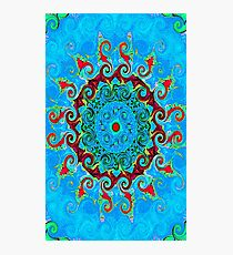 Blue Turquoise Orange and Red Mandala Photographic Print