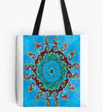 Blue Turquoise Orange and Red Mandala Tote Bag