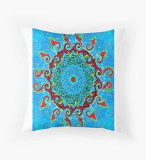 Blue Turquoise Orange and Red Mandala Throw Pillow