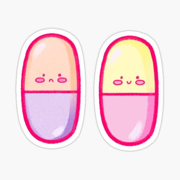 Menhera Kawaii Happy & Sad Pills Stickers Sticker