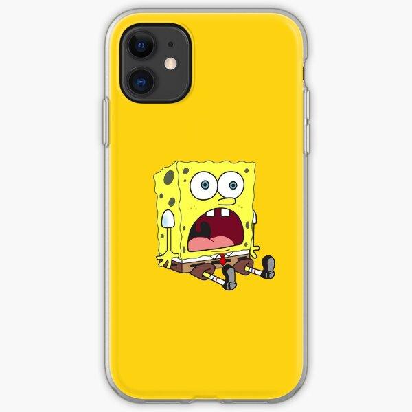 spongebob surprised sitting down funny meme sticker  iPhone Soft Case