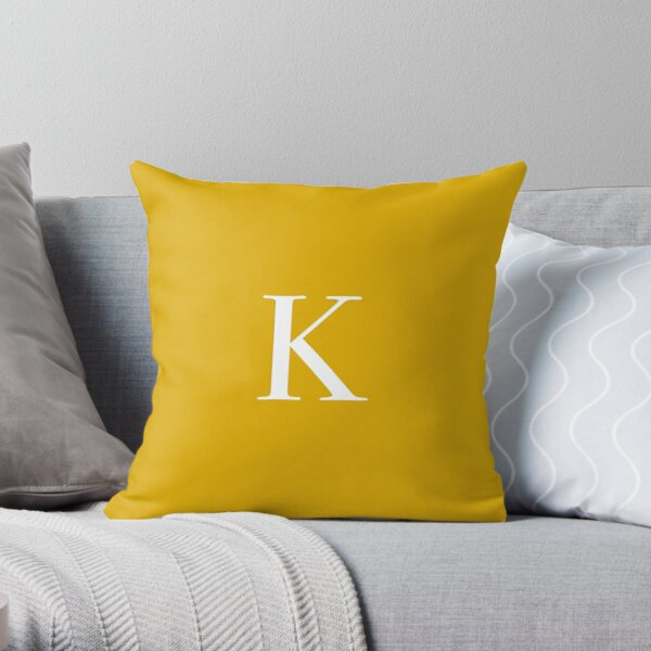 "The Letter ""K"" - Mustard Yellow Throw Pillow"