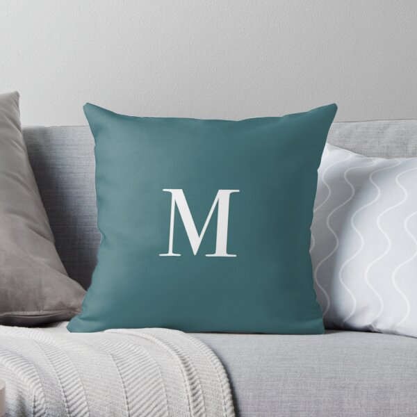 "The Letter ""M"" - Dark Teal Throw Pillow"