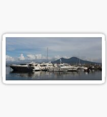 Vesuvius Volcano and the Boats in Naples, Italy Harbor Sticker