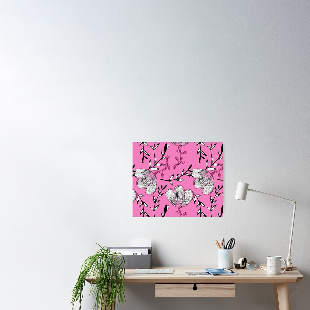 Black Pink Ink Poster