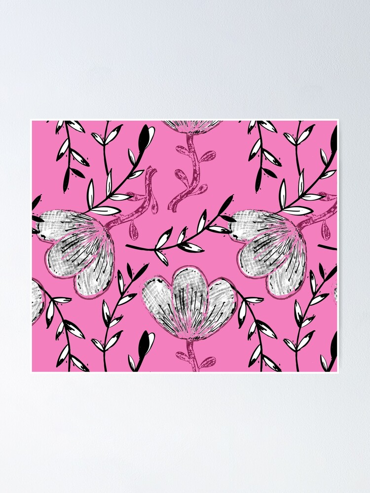 Alternate view of Black Pink Ink Poster