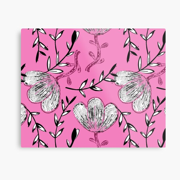 Black Pink Ink Metal Print
