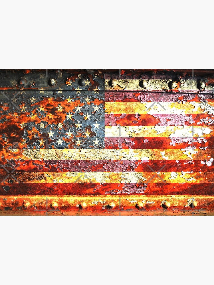 American Flag On Rusted Riveted Metal Door by MolonLabeArt