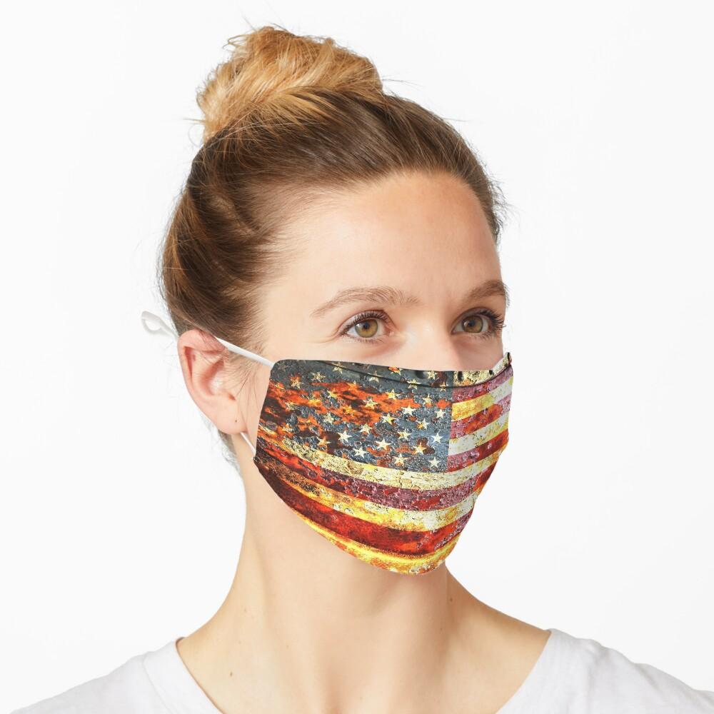 American Flag On Rusted Riveted Metal Door Mask