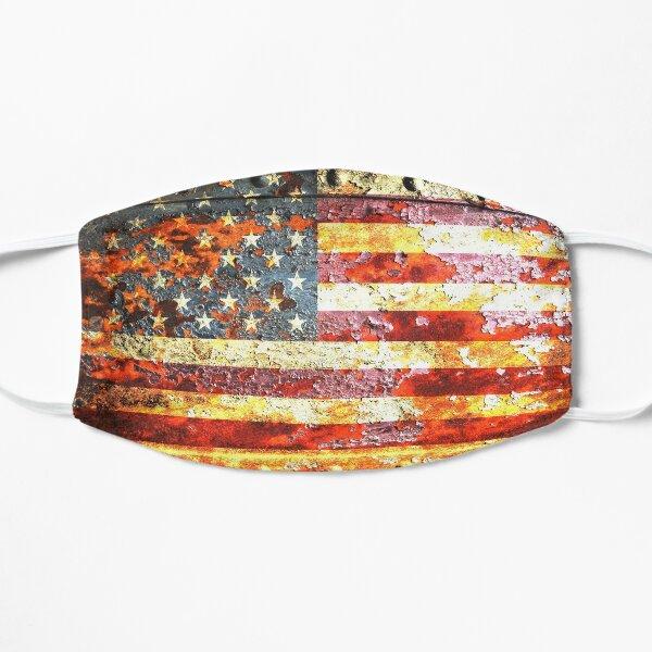 American Flag On Rusted Riveted Metal Door Flat Mask