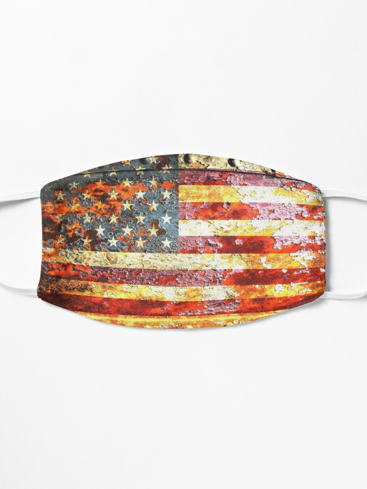Alternate view of American Flag On Rusted Riveted Metal Door Mask