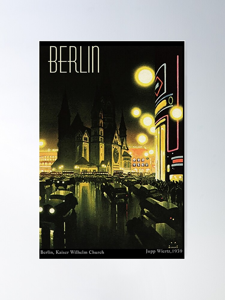 Alternate view of Kaiser Wilhelm Church ...Berlin at night, by Jupp Wiertz Poster