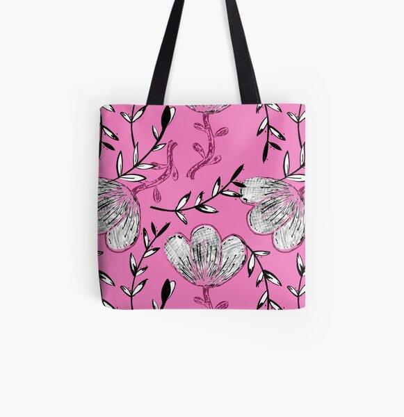Black Pink Ink All Over Print Tote Bag