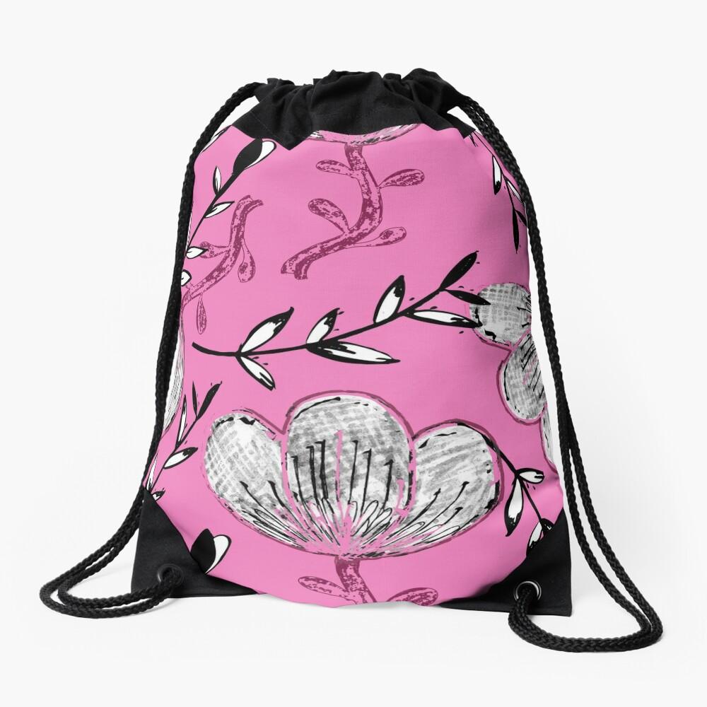 Black Pink Ink Drawstring Bag