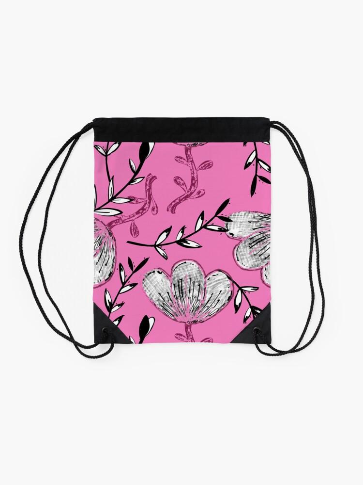 Alternate view of Black Pink Ink Drawstring Bag